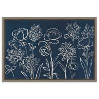 Amanti Art Indigo Floral I 23-Inch x 16-Inch Framed Canvas Wall Art