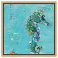 Amanti Art Little Seahorse Blue 16-Inch Square Framed Canvas Wall Art