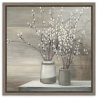 Amanti Art Pussy Willow Still Life Gray Pots 16-Inch Square Framed Canvas Wall Art