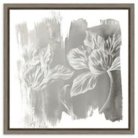 Amanti Art Water Wash II Neutral (Floral) 16-Inch Square Framed Canvas Wall Art