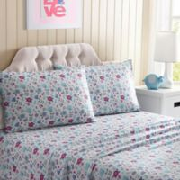 Floral Twin Sheet Set in Pink/Blue