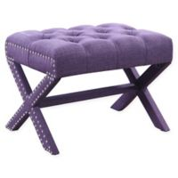 Chic Home Linen Upholstered Bettina Ottoman in Plum