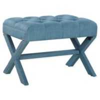 Chic Home Linen Upholstered Bettina Ottoman in Blue