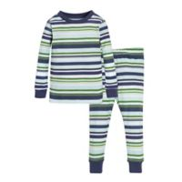 Burt's Bees Baby® Size 2T 2-Piece Vintage Stripe Pajama Shirt and Pant Set in Green