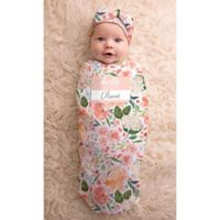 Itzy Ritzy® 2-Piece Watercolor Floral Swaddle Cocoon and Hat Set in Pink