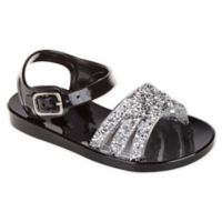 Stepping Stones Size 6 Jeweled Jelly Sandals in Black
