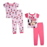 Disney® Size 2T 4-Piece Minnie Mouse Sitting Pretty Pajama Set in Pink