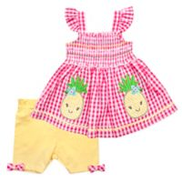 Nannette Baby® Size 3-6M 2-Piece Pineapple Dress and Short Set in Coral