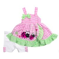 Size 3-6M 2-Piece Ladybug Tunic and Seersucker Short Set in Pink