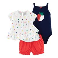 carter's® Size 18M 3-Piece Strawberry Dots Top, Bodysuit and Diaper Cover Set