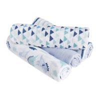 aden® by aden + anais® Dinos 4-Pack Cotton Muslin Swaddle Blankets in Blue