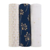 aden + anais® 3-Pack Cotton Muslin Swaddle Blankets in Metallic Gold