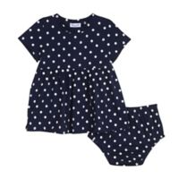 Splendid® Size 6-12M 2-Piece Polka Dot Dress and Diaper Cover Set in Navy