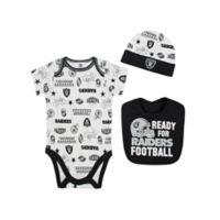 NFL Raiders 3-Piece Size 0-3M Bodysuit Set