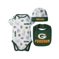 NFL Green Bay Packers Size 0-3M Short Sleeve Bodysuit, Bib and Cap Set