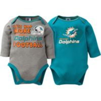NFL® Miami Dolphins Size 0-3M 2-Pack Long-Sleeve Bodysuit Set