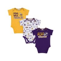 NFL® Minnesota Vikings Size 6-12M 3-Pack Short-Sleeve Bodysuit Set