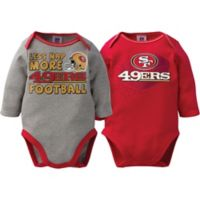 NFL San Francisco 49ers Size 0-3M 2-Pack Boy Long-Sleeve Bodysuit Set