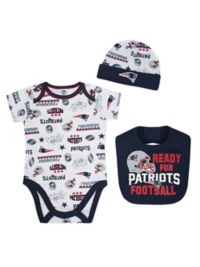 NFL® New England Patriots Size 0-3M 3-Piece Bodysuit Set