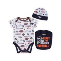 NFL® Denver Broncos Size 0-3M 3-Piece Short Sleeve Bodysuit