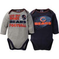 NFL® Chicago Bears Size 0-3M 2-Pack Long Sleeve Bodysuit Set