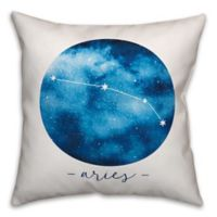 Aries Zodiac Sign Constellation Square Throw Pillow in Blue/White