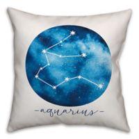 Aquarius Zodiac Sign Constellation Square Throw Pillow in Blue/White
