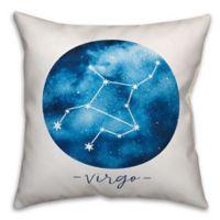 Virgo Zodiac Sign Constellation Square Throw Pillow in Blue/White