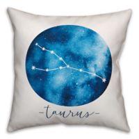 Taurus Zodiac Sign Constellation Square Throw Pillow in Blue/White