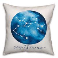 Sagittarius Zodiac Sign Constellation Square Throw Pillow in Blue/White