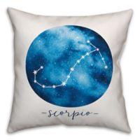 Scorpio Zodiac Sign Constellation Square Throw Pillow in Blue/White