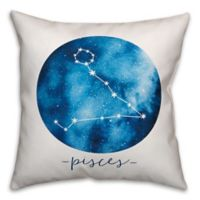 Pisces Zodiac Sign Constellation Square Throw Pillow in Blue/White