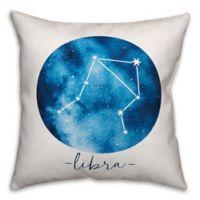 Libra Zodiac Sign Constellation Square Throw Pillow in Blue/White