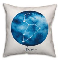 Leo Zodiac Sign Constellation Square Throw Pillow in Blue/White