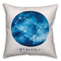 Gemini Zodiac Sign Constellation Square Throw Pillow in Blue/White