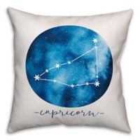 Capricorn Zodiac Sign Constellation Square Throw Pillow in Blue/White