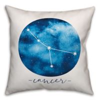 Cancer Zodiac Sign Constellation Square Throw Pillow in Blue/White