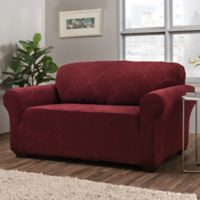Shapely Diamond Loveseat Slipcover in Burgundy