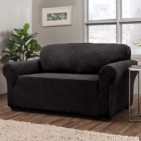 Shapely Diamond Loveseat Slipcover in Black