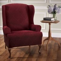 Shapely Diamond Wing Chair Slipcover in Burgundy