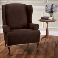 Shapely Diamond Wing Chair Slipcover in Brown