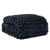 Madison Park Chunky Knit Throw Blanket in Navy