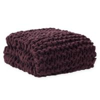 Madison Park Chunky Knit Throw Blanket in Plum