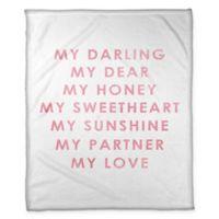 "Designs Direct ""My Darling My Love"" Fleece Throw Blanket in White"