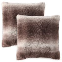 MHF Home Millburn Faux Fur Square Throw Pillows in Brown (Set of 2)