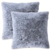 MHF Home Millburn Faux Fur Square Throw Pillows in Grey (Set of 2)