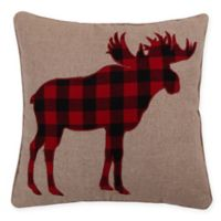 Levtex Home Lodge Sparkle Moose Icon Square Throw Pillow in Red