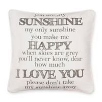 Levtex Home You Are My Sunshine Square Throw Pillow in White