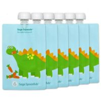 Sage Spoonfuls® 6-Pack Reusable Food Pouches in Blue Dinosaur