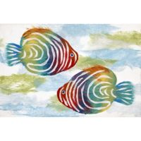 "Liora Manne Rainbow Fish 1'11"" X 2'11"" Powerloomed Accent Rug in Off White"